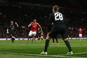 Marcus Rashford celebrates putting United into the lead.
