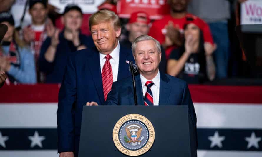 Donald Trump and Lindsey Graham at a rally in North Charleston, South Carolina, on 28 February.