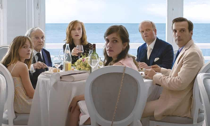 the cast of Happy End, from left, Fantine Harduin, Jean-Louis Tringtignant, Isabelle Huppert, Laura Verlinden, Toby Jones, and Mathieu Kassovitz.