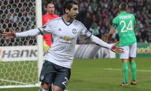 Henrikh Mkhitaryan celebrates after helping Manchester United to a 4-0 aggregate win with the only goal of the night
