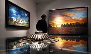 Manhattan Skyline … Dylan's paintings on display at the Halcyon Gallery