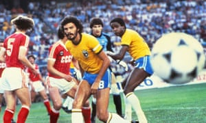 Sócrates at the centre of the action against the USSR during the 1982 World Cup match in which he scored a spectacular long-range goal.