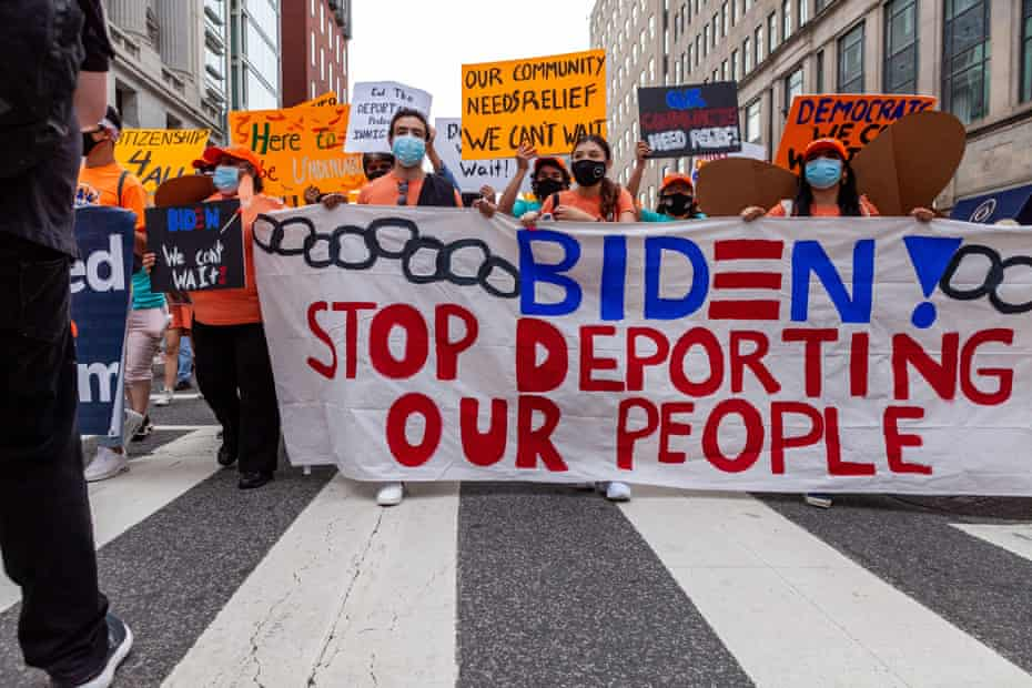 Immigrants and supporters protest in Washington DC to demand an end to deportations.