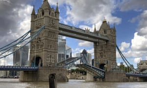 Tower Bridge with its two arms were stuck at different angles