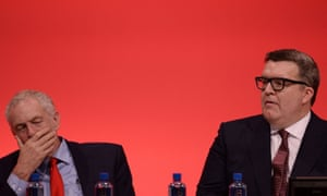 Corbyn and Watson at party conference in 2016 after an aborted coup in the party against its leader.