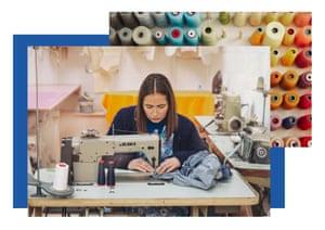 Gayle Bennett using a sewing machine.