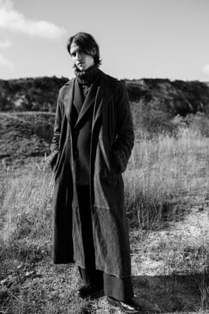 Suede long coat, jumper, trousers, all Topman Design, topman.com Boots, £390, trickers.com
