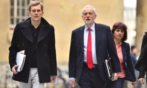 Jeremy Corbyn with his wife, Laura Alvarez, and communication director Seumas Milne.
