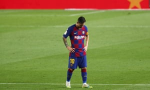 A dejected Messi after the home defeat to Osasuna in July which saw them all but hand the Spanish title to bitter rivals Real Madrid.