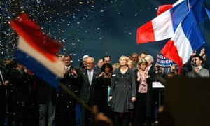 Jean-Marie Le Pen and Marine Le Pen at a Front National conference, 2011.