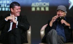 James Packer and Robert De Niro<br>in Macau on Tuesday.