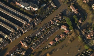 A picture (taken on December 27) of Huntingdon Road and Yearsley Crescent covered by floodwater after the River Ouse and River Foss bursts their banks in York city centre.