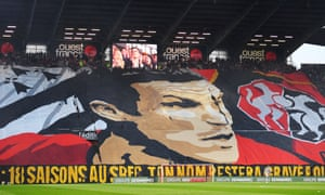 Rennes fans say goodbye to Romain Danzé.