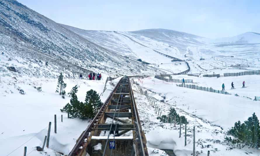 View from carriage of funicular railway of track rising to the Ptarmigan building, high on Cairngorm Mountain, Aviemore