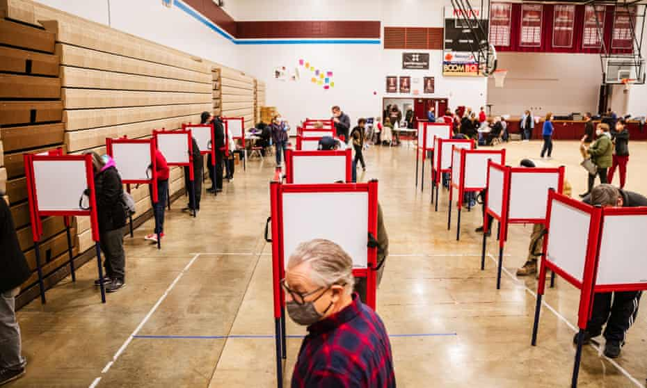 A polling place in Louisville. The Cybersecurity and Infrastructure Security Agency said: 'We can assure you we have the utmost confidence in the security and integrity of our elections, and you should too.'