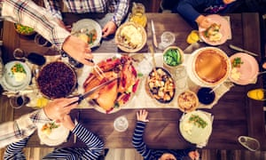 Room for everyone: a traditional Christmas dinner with all the family round the table.