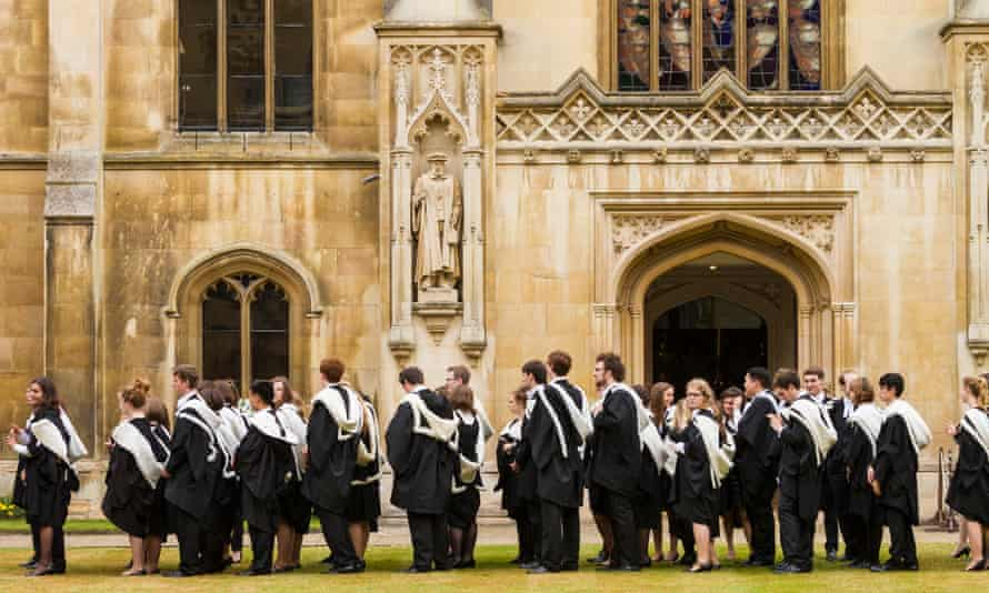 Students at Corpus Christi College, Cambridge, in gowns