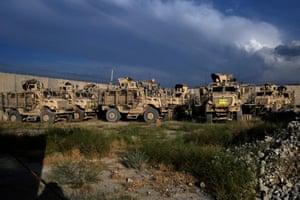 Mine Resistant Ambush Protection vehicles left at the base.