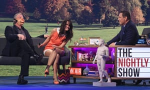 Martin Clunes, left, Nina Conti and David Walliams on The Nightly Show