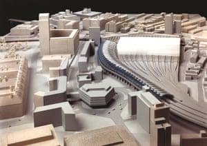 Architectural model of Nicholas Grimshaw's 1993 Eurostar terminal at Waterloo.