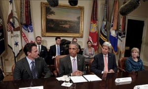 Michelle DeFord sits alongside President Barack Obama and the then secretary of state John Kerry at a White House meeting in 2015.
