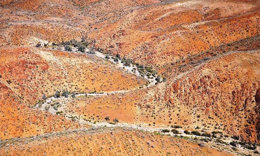 An aerial view of the northern Flinders Ranges, where Warratyi rock shelter was discovered. Research reveals evidence of human activity there 49,000 years ago.