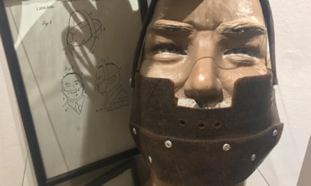 A 100-year-old leather mask, designed to keep a snorer's mouth shut.