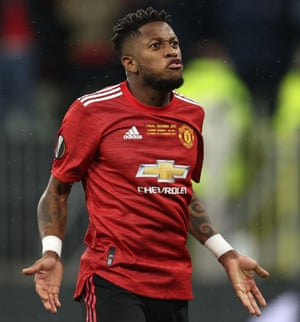 Manchester United's Fred celebrates scoring a penalty,
