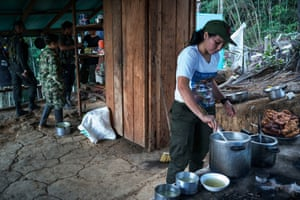 Guerrilla fighter Natalia prepares soup - kitchen duty is one of the chores rotated amongst the combatants