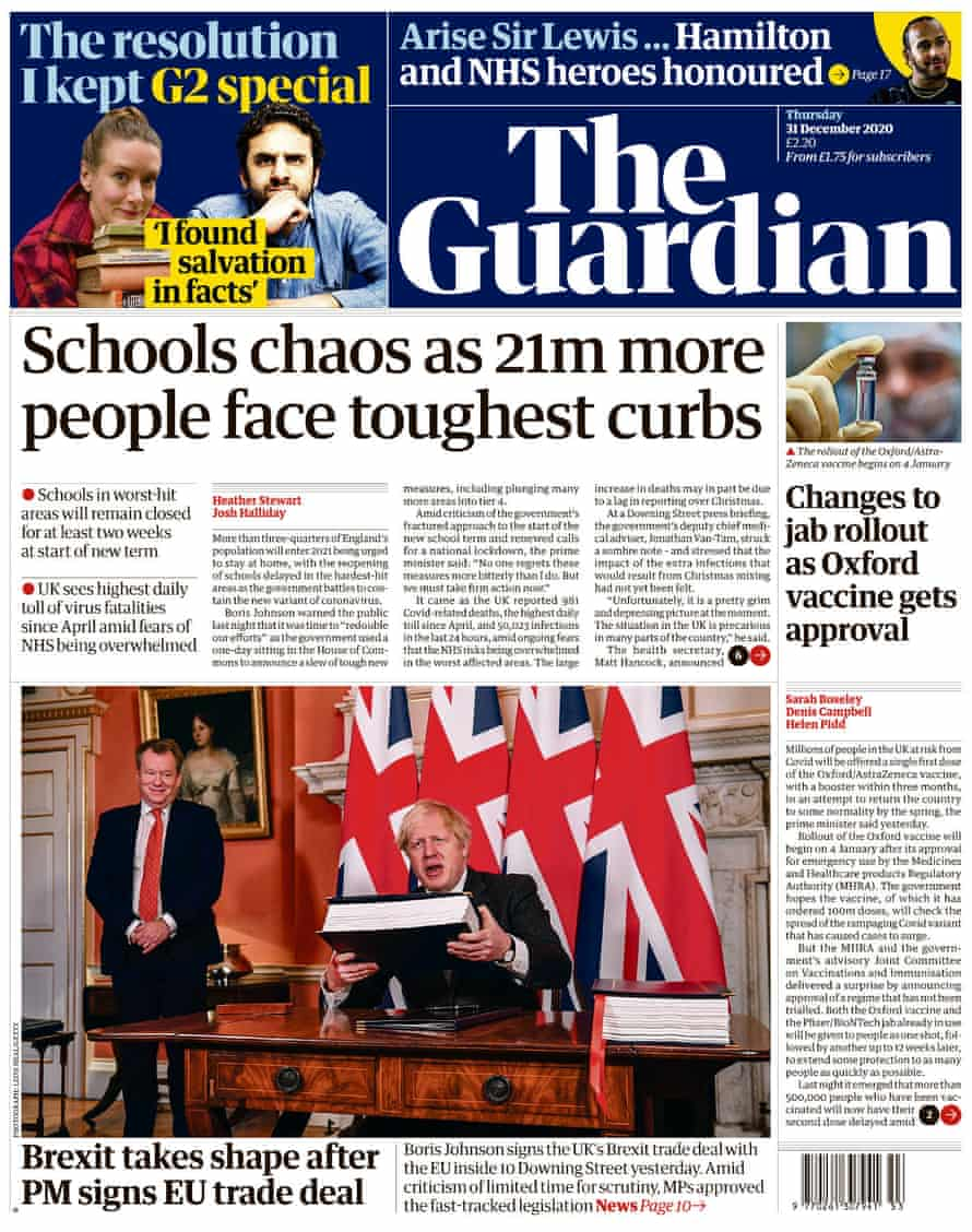 Guardian front page new year's eve