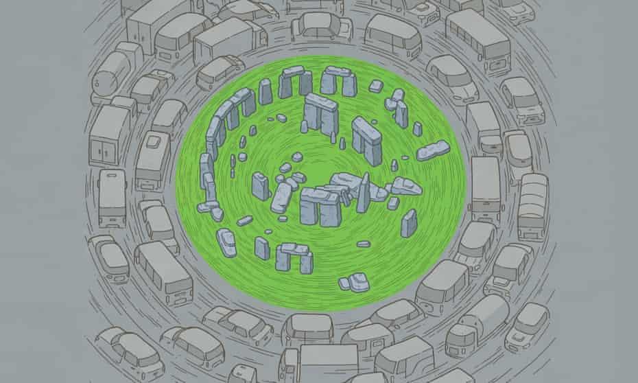 stonehenge traffic jam roundabout illustration