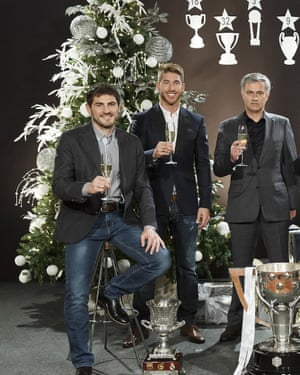 Despite the smiles at the 2012 Real Madrid Christmas portrait session, José Mourinho had high-profile fallings out with Iker Casillas (left) Sergio Ramos (centre), Pepe and Cristiano Ronaldo.