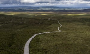 The Cuilcagh mountain boardwalk that edges the border between Northern Ireland and the Republic of Ireland.