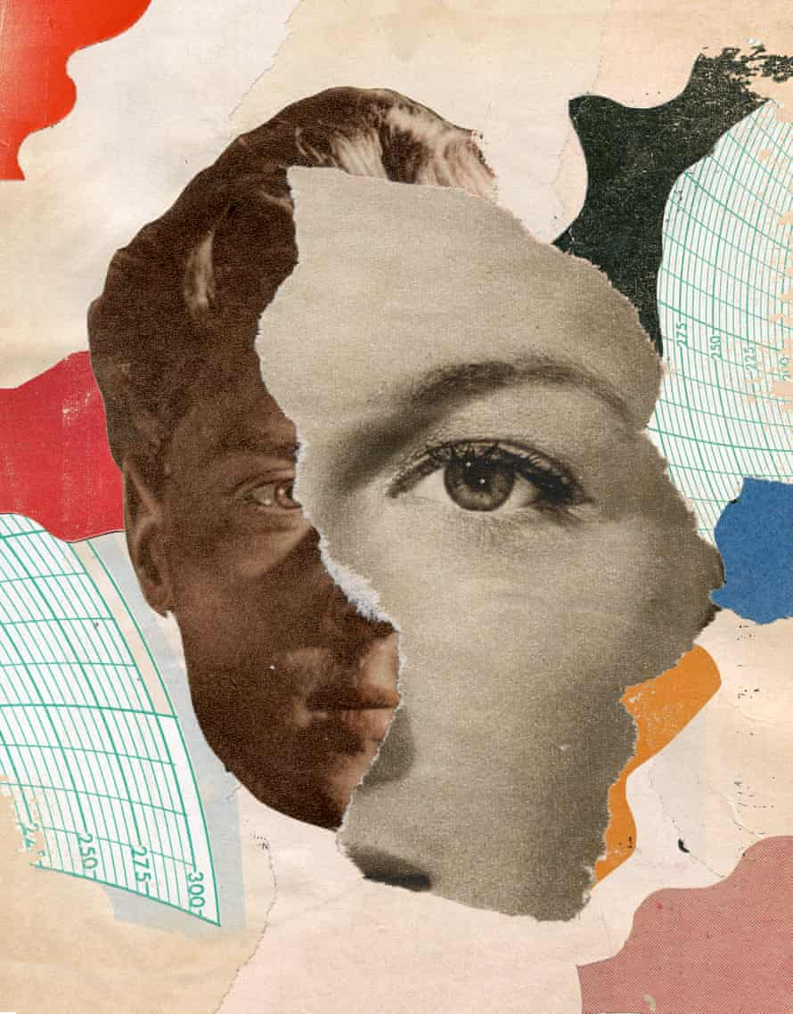 An illustration of a face half of which is overlayed by a cut-out of another face, with a mix of patterns in the background
