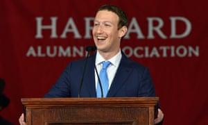 Facebook founder Mark Zuckerberg speaking at Harvard