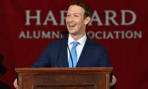 Facebook's Mark Zuckerberg at Harvard during his presidential-style tour of the US.