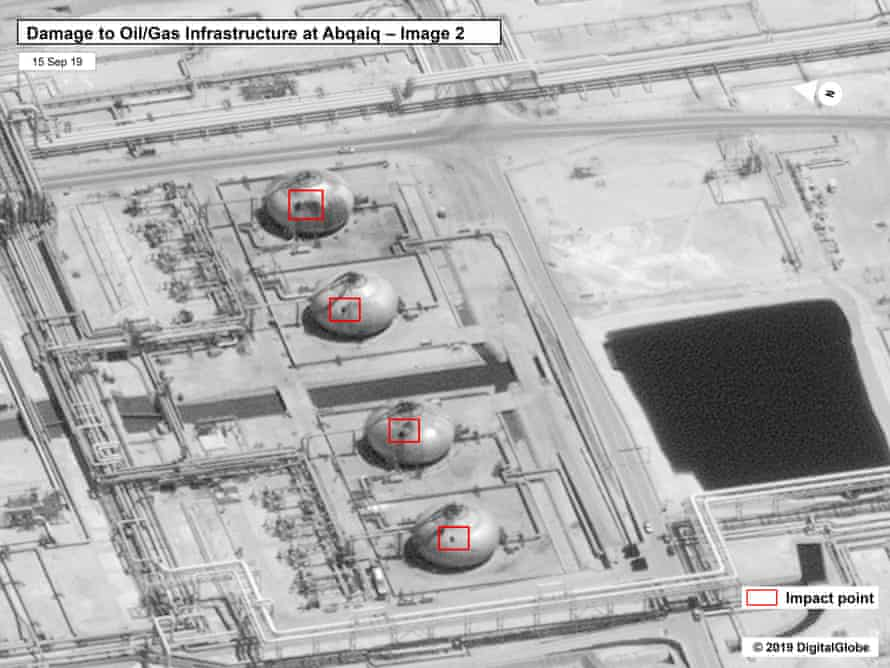 A satellite image released by the US of the Abqaiq facility. US officials said it shows that the attack came from the north or north-west, but this photo appears to show damage on the west.