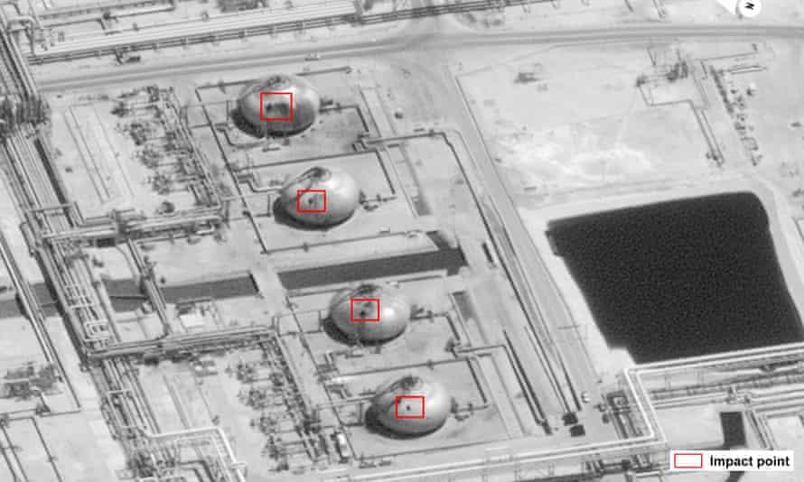 Damage to the infrastructure at Saudi Aramco's Abaqaiq oil processing facility in Buqyaq, Saudi Arabia.