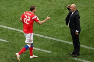 His coach salutes him.