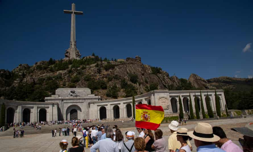 People gathering at the Valley of the Fallen.