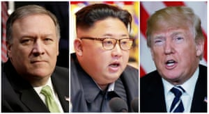 The visit by Pompeo, left, suggests that the summit between Kim, centre, and Trump, right, could indeed be on.