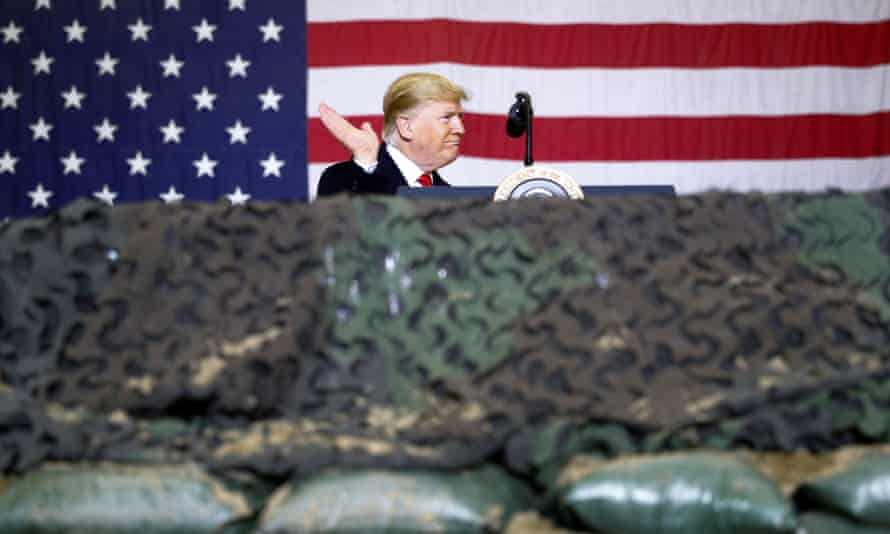 Trump on an unannounced visit to Bagram air base in Afghanistan last year. Trump has consistently displayed a cavalier attitude to armed forces' lives.