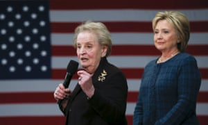 Former US secretary of state Madeleine Albright introduces Hillary Clinton