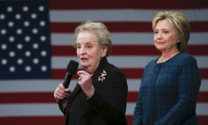 Former U.S. Secretary of State Madeleine Albright introduces Democratic U.S. presidential candidate Hillary Clinton during a campaign stop in Concord, New HampshireFormer U.S. Secretary of State Madeleine Albright (L) introduces Democratic U.S. presidential candidate Hillary Clinton during a campaign stop at Rundlett Middle School in Concord, New Hampshire February 6, 2016. REUTERS/Adrees Latif