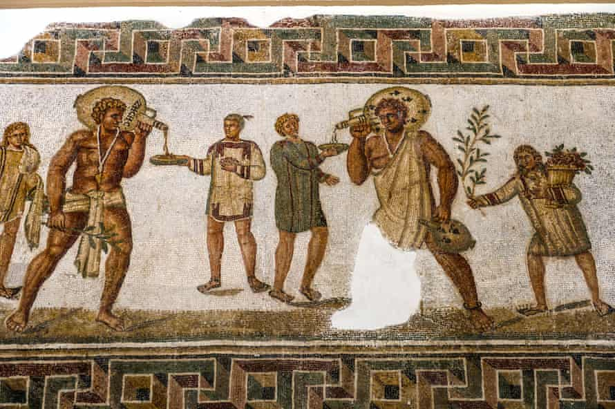 A Roman fresco of wine in the Bardo museum in Tunisia.