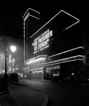 Odeon, Leicester Square, London, at night.