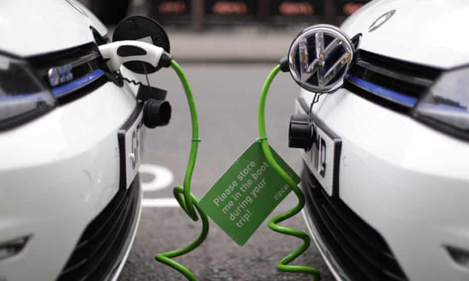 Street recharging of batteries in electric-petrol hybrid cars.