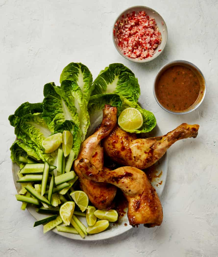 Yotam Ottolenghi's satay chicken and sambal platter.