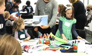 Olympic art in progress with Kevin Whitney at the Guardian Education Centre Cartoon and art family day 17 November 2018