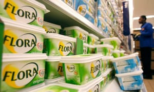 Flora margarine on supermarket shelves